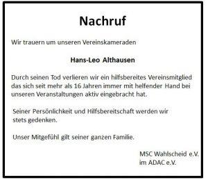 Nachruf Althausen